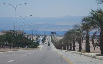 Fahrt nach Aqaba - im Hintergrund Israel, Ägypten